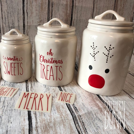 Rae Dunn Inspired Christmas Vinyl Decals Canister Decals Mug
