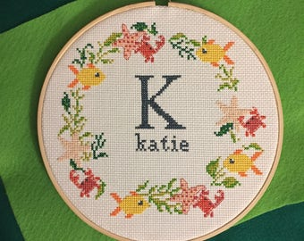 Personalized Monogram in Sea Life Wreath - Finished Cross Stitch