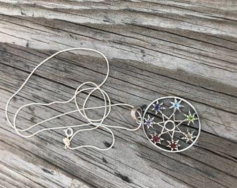 Silver pendant,seven chakra penadant