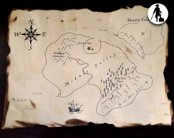 Customizable Aged Pirate Treasure Map - Build Yer Treasure, Pirate Party, Mermaid Party, Treasure Hunt