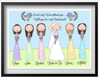 Pack of 6 asking a Bridesmaid Gifts (up to 6 prints) wiil you be my bridesmaid?