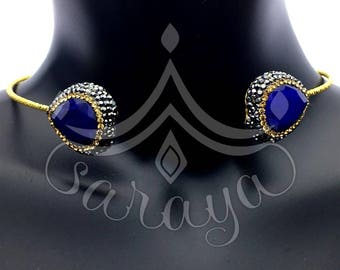 925 Sterling Silver Choker Accented with Sapphire and Swarovski Crystals