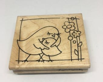 Rubber Stamp / Mother Hen Stamp / Mother and Child Stamp / Love Stamp / Scrapbooking / Card Making Supplies /Wood Mount Stamp