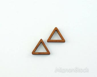 Triangle charm - Wood, light brown - (Dimensions: 22 x 22 x 22 mm)