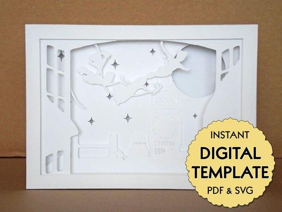 template peter pan paper cut file silhouette light box tutorial pdf svg digital download. Black Bedroom Furniture Sets. Home Design Ideas