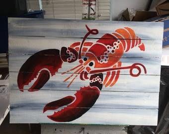 Lobster Pallet Art, Fence art, Ocean art, Reclaimed wood, Maine art, Coastal Decor