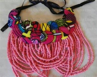 Ankara Buttons on Beads Necklace, Ankara Bib Necklace, Ankara Jewelry, Beaded Necklace, Buttons Necklace