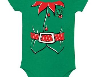Christmas Elf Suit Christmas baby bodysuit Xmas Infant Bodysuit Newborn boy newborn girl christmas onesie girl christmas onesie boy