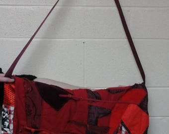 Red Patchwork Messenger Bag