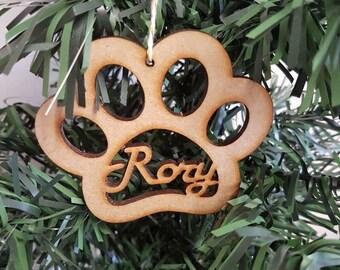 Christmas tree decoration, personalised, pet paw, wooden, Xmas tree ornament, decoration.