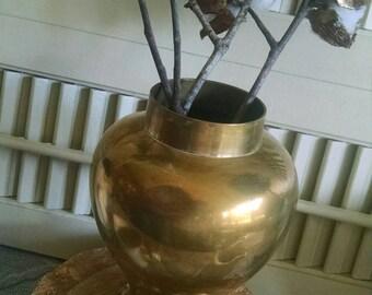 Vintage brass vase~vintage home decor~old vase