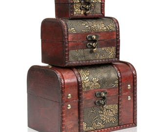 Set of 3 Wooden Vintage Treasure Chest Jewellery Storage Wood Box Case Organiser Ring Necklace Bracelet