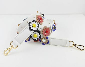 purse handles leather Stud Bag Strap white Colorful Leather flower Strap Removable Strap for Bag and Purses Interchangeable Strap