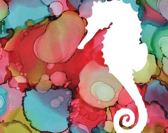 Seahorse Alcohol Ink Print Silhouette with Pink and Teal