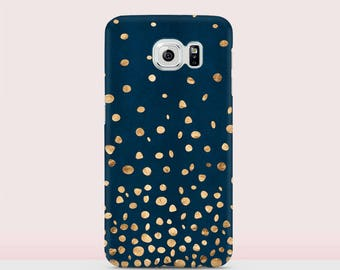 Cover For Samsung S6 Case For Galaxy S7 Matte Case For A5 Glossy Case For A3 Golden Dots Case Golden Dots Cover Dark Green Case
