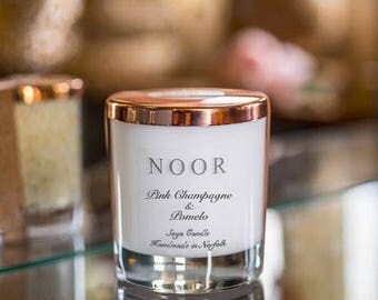 Luxury Brand candle Noor Pink Champagne & Pomelo soya, Soy wax, copper lid and gloss white jars home decor,vegan friendly