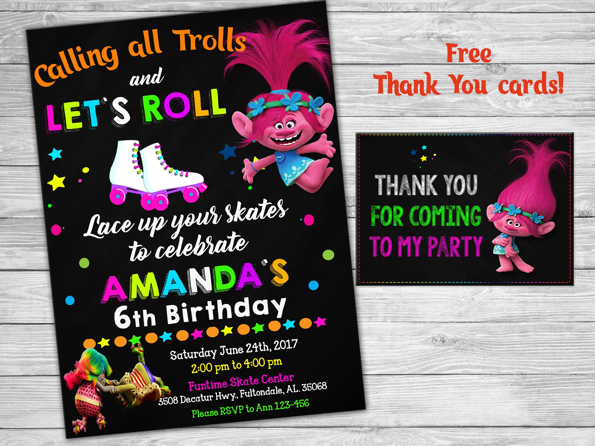 Trolls invitation Birthday roller skating + Thank you tags Poppy ...