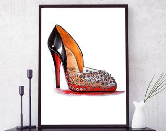 Christian Louboutin print. Christian Louboutin heels, Shoes poster, Fashion wall art, Shoes print, Shoes Red Bottom poster. Free shipping.