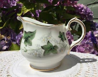 Duchess fine bone china small cream jug 'Ivy' design. C. 1980s