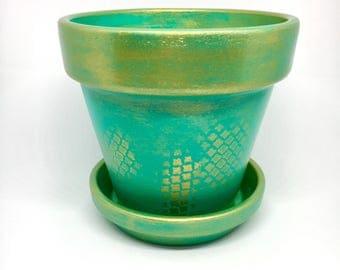 Hand painted flower pot, terracotta pot, hand painted planter, handmade plant pot, pot with saucer