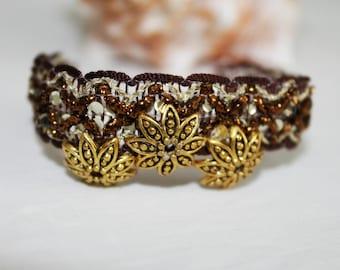 Elegant Bracelet Summer Flowers Vintage Gold Jewel Handmade