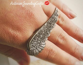 Antique Silver Angel Wing Ring Silver Wing Ring Adjustable Ring Mother's Day Gift For Her Silver Feather Ring Bohemian Ring Statement Ring