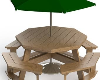 Easy DIY Large Octagon Picnic Table - Bench Woodworking Design Plans - Instructions 04