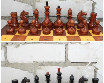 Vintage Original Soviet Chess Set with board 1950s USSR // Very rare Original chess set // Wooden chess set 1950s