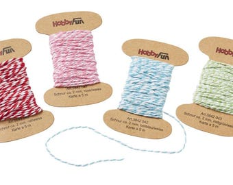 4 x 5 meters coloured cord, 2 mm, yarn card, 4 div. Colors