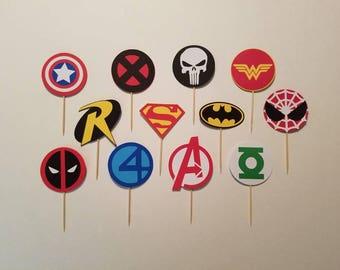 Super Hero Cupcake Toppers, Set of 12