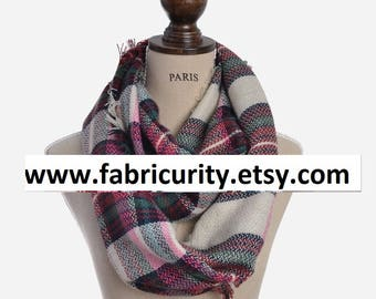 Pink Khaki Blanket Infinity Scarf, Infinity Blanket Scarf, Plaid Blanket Scarf, Scarves for Her, Scarves for Women