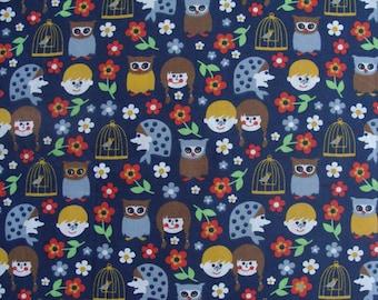 Fabric Navy organic Poplin children and owls on bottom