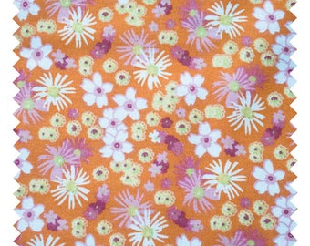 "Fabric ""Zinia Orange"" 100% cotton sold by the yard"