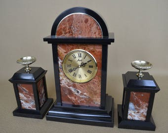 Clock with candle holders