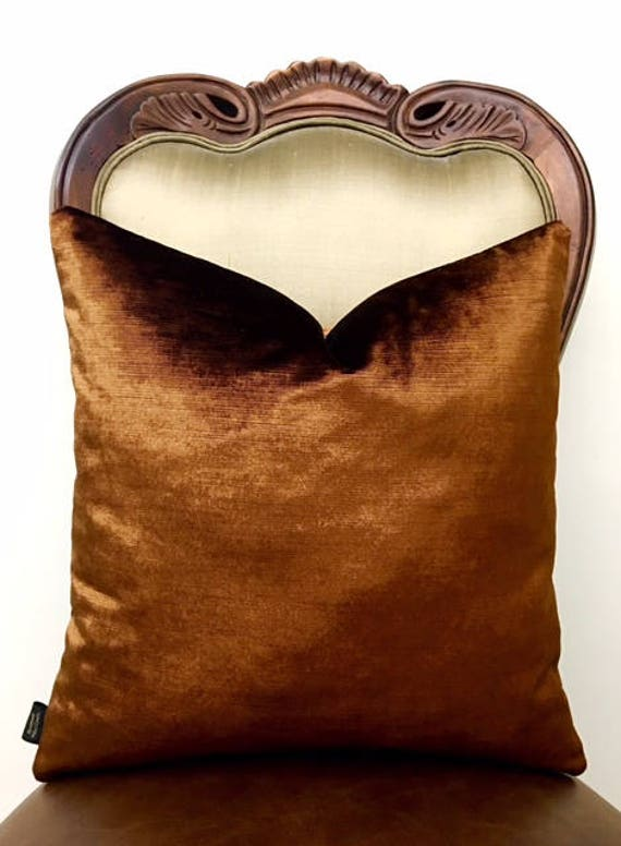 Bronze Velvet Throw Pillows All Sizes Velvet Pillow Cover