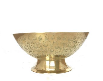 Vintage Brass Footed Pedestal Bowl ~ Made in India ~ Boho Decor ~ Global Decor ~ Brass Decor