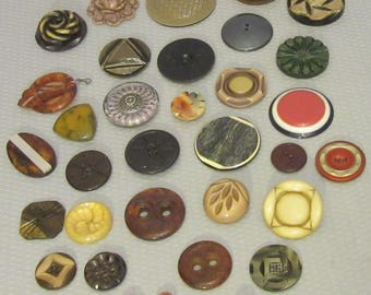 36 piece estate LOT BUTTONS celluloid bakelite plastic big layered laminated wafer carved sewing crafting