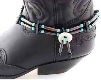 Native American style bone hair pipe choker boot straps brown tube bead turquoise bead boot bling cowboy western biker festival boot straps
