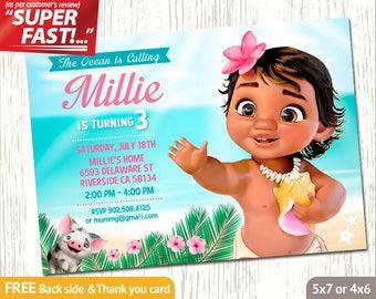 Moana Invitation PRINTABLE, Moana Birthday Invitation, Moana Party Invitation, Baby Moana Invite, FREE Moana Thank You Card, v3