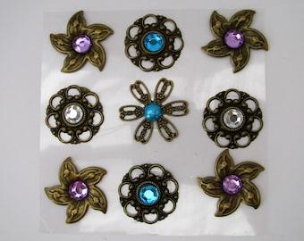 9 vintage stickers - Brass Bronze Embellishments - Rhinestones