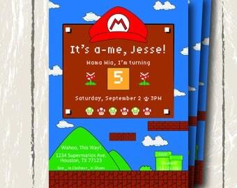 Supermarios Birthday Invitation, 5x7 Digital Invitation