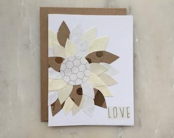 Flower Card - Valentine's Card, Love Card, Wedding Card, Flower Design Card