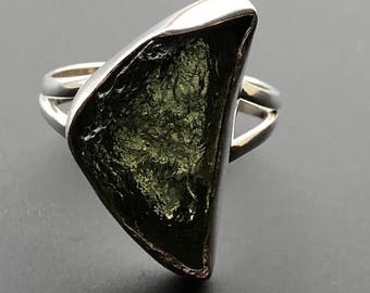 Sterling Silver Moldavite Natural Tektite Ring From Moldau River ~ Size ( L)