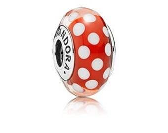 NEW Authentic Pandora 791635 Minnie's Signature Look Disney Murano Glass Bead