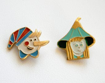 Soviet Children's badge..Burattino Pin..Thumbelina..Pinocchio..Vintage collectible badges..Set of 2 pins