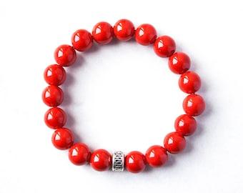 Red Beads Bracelet Mother Bracelet Stacking Cousins Bracelet First Communion Boyfriend Bracelet Root Chakra Promise Bracelet for Couples