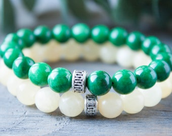 Couples Bracelets Green and Beige Bracelet His and Hers Long Distance Relationship Matching Bracelets Boyfriend Girlfriend Distance Bracelet
