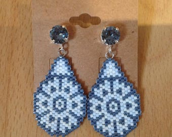 Miyuki 11 cabochons Swarovski hangs silver peyote stitch beaded earrings