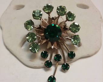 gold tone and green pin