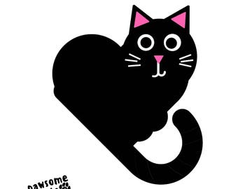 Black and White Cute Happy Heart Cat Graphic Art Design Wall Print 8.5inx11in